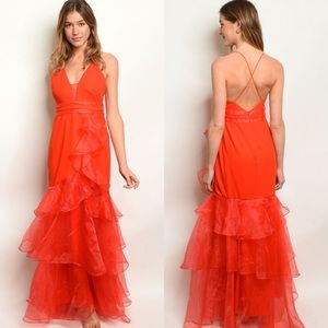 Red Sleeveless Ruffle Organza V-Neck Dress S-M-L